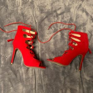 New Unworn Peep Toe Lace-Up Red Heels - 6